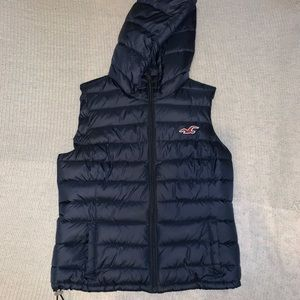 HOLLISTER NAVY PUFFER VEST WITH HOOD